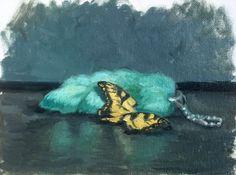 Green rabbit's foot original oil painting