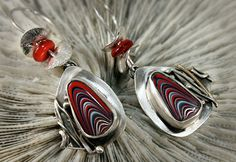 Asymmetrical Silver Fordite Earrings by madstarsilver on Etsy, $69.06