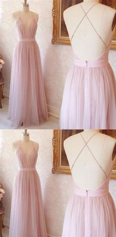 Long Evening Dresses, A-line V-neck Long Pink with Cross Back Prom Dress Evening Dress