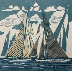 """Turning at the Mark"", Linocut by John Scott Martin, English Artist & Printmaker . Linocut Prints, Art Prints, Block Prints, Illustrator, Collagraph, Linoprint, Wood Engraving, Gravure, Woodblock Print"
