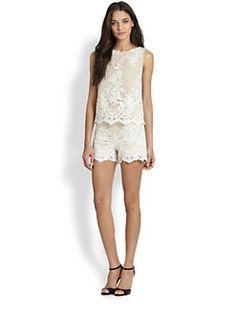 Alice + Olivia - Amal Boxy Lace Tank $297.00 High-Waisted Lace Shorts $385.00