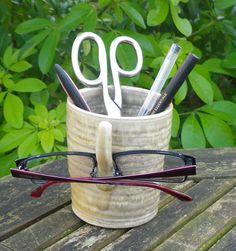 glasses spectacles bedside organiser stoneware handthrown pottery ceramic pens