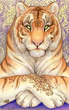 """Whimsical animal, anthro, wildlife, and fantasy artwork with a mystical touch by renowned artist Christy """"Goldenwolf"""" Grandjean from Cedar Crest, New Mexico. Big Cats Art, Furry Art, Cat Art, Magical Creatures, Fantasy Creatures, Tiger Spirit Animal, Graphisches Design, Tiger Art, Spirited Art"""