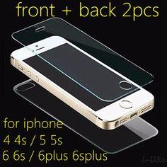 전면 + 위로 2 개 HD 클리어 투명 화면 보호 강화 유리 필름 아이폰 4 4 초/5 5 초 5se/6 6 초/6 플러스 6 splus