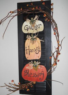 Old Black Wooden Shutter GATHER HARVEST BLESSING ~from Country Craft House