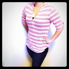 "SALE Ella Moss hot pink &light oatmeal striped top Ella Moss hot pink & oatmeal striped top! Size M  Roll-tab 3/4 length sleeves with button Crew rounded V neck with 1"" top stitch Pullover with 1 button to deepen or close V Fabric is heathered jersey blend Dry clean only (or wash cold, hang dry) Made in USA Condition: like new! Ella Moss Tops"