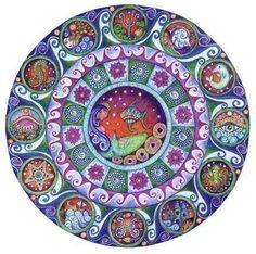 Pisces art mandala astrology zodiac greeting by LindyLonghurst,