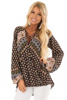 e8f9d2a2a2 Lime Lush Boutique - Black Long Sleeve Paisley Blouse With Criss Cross  Detail