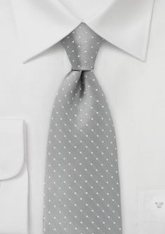 Kids Necktie Silver and White Polka Dots for $12.90. Sized for ages 6-12.