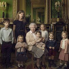 The Queen surrounded by her two youngest grandchildren and her five great-grandchildren #Queenat90 This is the first in a series of official photographs released today to mark The Queen's 90th birthday. They were taken at Windsor Castle just after Easter by renowned portrait photographer Annie Leibovitz. From left: James, Viscount Severn, Lady Louise, Mia Tindell, Queen Elizabeth, Princess Charlotte, Savannah Phillips, Prince George and Isla Phillips.
