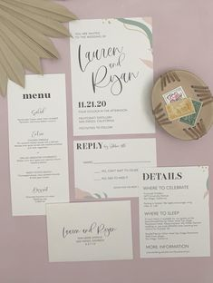 Printable abstract wedding invitations with blush, mustard, and sage green details. Wedding invitation templates are perfect for DIY wedding on a budget!