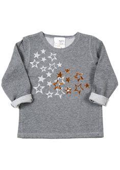 Longsleeve terry with multi stars metallic foil print