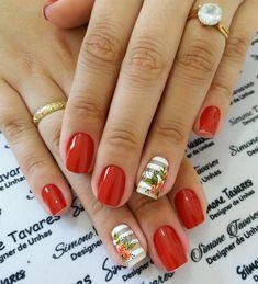 100 Fotos de Unhas decoradas Românticas Jelsa, My Nails, Nail Art, Orange, Beauty, Design, Pretty Nails, Nails Plus, Art Nails