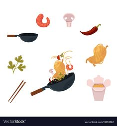 Cooking Thai, Japanese, Chinese noodle in wok - pan and ingredients, cartoon vector illustration isolated on white background. Thai, Chinese cuisine - wok, noodle, shrimps, mushroom, chopstick, chilli. Download a Free Preview or High Quality Adobe Illustrator Ai, EPS, PDF and High Resolution JPEG versions.