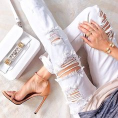 White jeans - our favorite piece of clothing this Summer. // : @wishes_reality // Follow @ShopStyle on Instagram for more inspo.