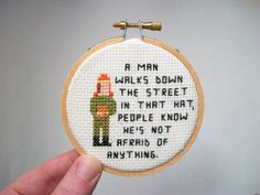 Ready to ship  Cunning Hat cross stitch in hoop by aliciawatkins, $27.99