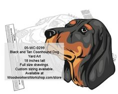 05-WC-0299 - Black and Tan Coonhound Dog Yard Art Woodworking Pattern - The Black and Tan Coonhound is descended from the Talbot Hound, found in medieval England after the eleventh century. Its ancestry is then traced through the Bloodhound and the Foxhound to the Black and Tan Virginia Foxhound. Average height is 24 inches at the withers. Drawings are full size. Custom sizing available. Mirror image available.