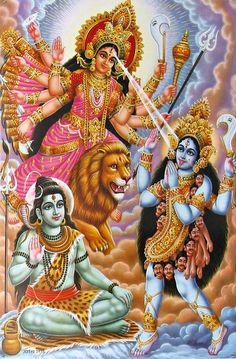 Durga and Kali are both aspects of Shakti. Both deities emerge to defeat evil and both are associated with Shiva. - Durga and Kali are both aspects of Shakti. Both deities emerge to defeat evil and both are associated with Shiva. Hindu Art, Kali Mata, Kali Hindu, Durga Maa, Kali Shiva, Shiva Shakti, Kali Goddess, Indian Goddess, Spirituality