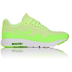 Nike Women's Air Max 1 Ultra Moire Sneakers ($130) ❤ liked on Polyvore featuring shoes, sneakers, green, round cap, perforated sneakers, nike shoes, nike trainers and perforated shoes