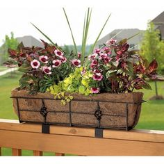 Black Rectangle Coco Liner/Mild Steel Antoinette Adjustable Deck Railing Planter -  23.7L x 7.7W x 5.2H inches; $37 +$5 shipping