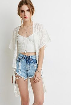 Fringed Floral-Embroidered Kimono | Forever 21 | #thelatest