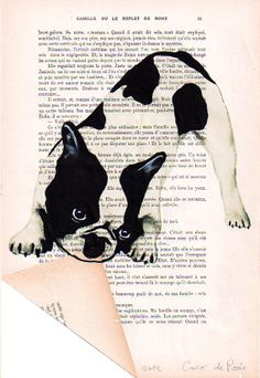Acrylic paintings Illustration Original Prints Drawing Giclee Posters Mixed Media Art Holiday Decor Gifts: Frenchie folding paper on Etsy, $15.00