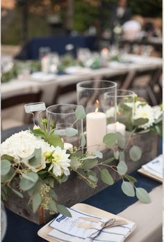 Wooden box centerpieces.