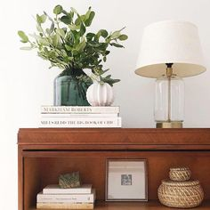 Trim Design Co. mixes organic modern eucalyptus branches with a classic lamp on a traditional barrister bookcase in Boston, MA. #trimdesignco #bookcasestyling #shelfstylingideas #shelfdecor #bookshelfstyling #bookshelfdecor #styleideaseucalyptus #eucalyptusbranches #falldecor #mantelstylingideas #moderninteriordesign