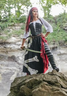 e37618093a795 Gypsy Lady Pirate 7-PC Flag Costume Set Includes White, Long Sleeve, Off