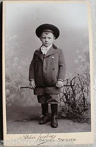Vintage cabinet photo of German boy with marine hat
