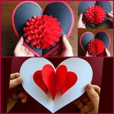 More Pop-up Cards Pop Up Valentine Cards, Pop Up Cards, Valentine Crafts, Holiday Crafts, Valentine's Cards For Kids, Diy For Kids, Kirigami, Cute Crafts, Creative Cards