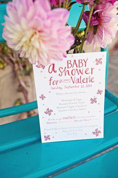 Sunny Baby Shower, flowers, pink, stationery, invitation, pinwheels, mason jar