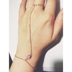 Fire Opal Glass Slave Bracelet / Ring Bracelet / Finger Bracelet Handmade with a Gold Chain