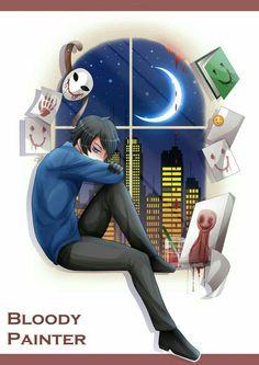 Bloody Painter, text, paintings, window, moon, night, starry sky, unmasked, city; Creepypasta