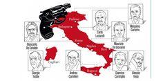 L'Italie, le pays où le polar est une spécialité locale | La carte des polars italiens.  (©OBS)