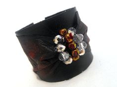 Bow cuff bracelet. Leather black and red bow ❤ by julishland on Etsy