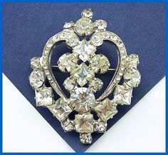 "Vintage Rhinestone Brooch or Pin Art Deco w Heart Crown Motif Silver Metal 2"" EX. $16.50, via Etsy."