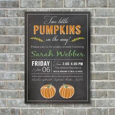 FALL BABY SHOWER Invitation  Two Little Pumpkins  by PoppinsInk
