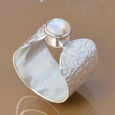 SOLID 925 STERLING SILVER DESIGNER MOONSTONE RING 5.36g DJR7286 SZ-6.5 #Handmade #Ring
