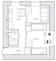 Оптимизируем небольшую двухкомнатную квартиру для семьи с детьми, 35.3 кв.м. ПОСЛЕ
