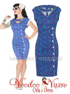 Voodoo Vixen Orla dress available at Modern Grease Clothing & Accessories Co. http://www.moderngrease.com/orla-50s-pencil-dress-blue-floral/ladies/