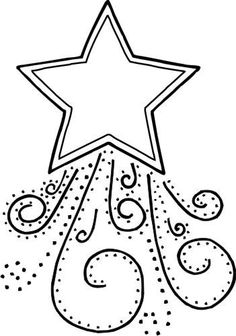 Ornate star with swirls and little stars in sketch style