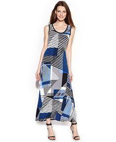 Calvin Klein Sleeveless Graphic-Print Maxi Dress.  Fits true to size.