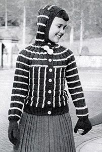 NEW! Hooded Cardigan Sweater & Mittens knit pattern from Fashions & Fun for the Almost Teens, Bernat Handicrafter Book No. 59 from 1957.