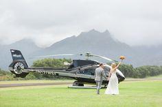 Helicopter Grand Exit! | Wedding transportation | Destination wedding | Hawaii Wedding - photo by Sealight Studios