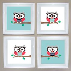 Girl Owl Print Set of 4 | Ruby & Me | Online Shop