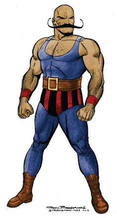 Strongman characteristics; belt, wrist gauntlets, mid-calf boots, exaggerated mustache