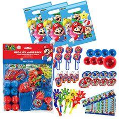 56 pcs. Super Mario Party Favor & Bag Value Set - Favors or Piñata Fillers