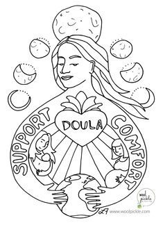 Coloring book page - Doula