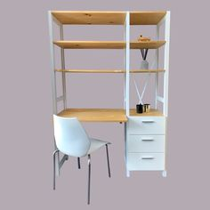 Combining our classic Lundia shelving with drawers and a desk shelf to create the ultimate study unit.